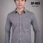 เสื้อเชิ้ตผู้ชายลายตารางสีดำ SP-003