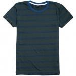 เสื้อยืดคอกลมลายทาง A004 (เส้นคู่ สีเขียวเข้มน้ำเงิน)