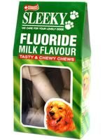 ขนมขัดฟันสุนัข SLEEKY กระดูกหนังวัวเคลือบฟลูออไรด์ขัดฟันหมา รูปกระดูกผูก 6 นิ้ว - แพ็คใหญ่