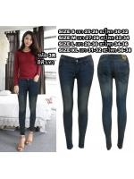 กางเกงยีนส์ขาเดฟเอวต่ำ แบบซิป ผ้ายืดเนื้อดี สีฟ้าเทา มี SIZE S,M,L,XL