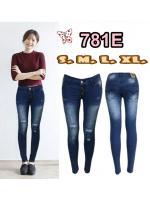 กางเกงยีนส์ขาเดฟเอวต่ำ กระดุม3เม็ด สียีนส์ฟอกขาว ขาดหน้าขาเก๋ๆ มี SIZE S,M,L,XL ส่งฟรี EMS