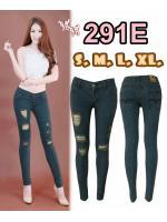 กางเกงยีนส์ขาเดฟเอวต่ำ สีไปโอเทาเขียว ขาดหน้าขา ยีนส์ยืด มี SIZE S,M,L,XL