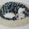 ตุ๊กตาแมว นอนหลับ หายใจได้ (ใส่ถ่าน) สีเทาลายดำ