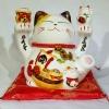 แมวกวัก แมวนำโชค สูง 7.5 นิ้ว ชูถุงทอง และลูกแมว [35825]