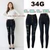 กางเกงยีนส์ขาเดฟเอวสูง แบบกระดุม มี5เม็ด สีสนิมกรมดำ แต่งขาดหน้า มี S,M,L,XL
