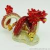 มังกร ม้วนตัว โลหะ ประดับด้วยเพชรคริสตัล - สีแดง