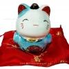 แมวนำโชค แมวกวัก สูง3นิ้ว ในชุดสีฟ้า [catset2]