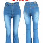 กางเกงยีนส์ขาม้า สีฟ้าฟอกขาว เอวสูง ใส่แล้วดูเพรียว เก็บทรงสวย มี SIZE S,M,L,XL