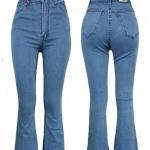 กางเกงยีนส์แฟชั่น สีฟ้าเทา กางเกงยีนส์ขาม้าเอวสูง เก็บทรงสวย มี SIZE S,M,L,XL