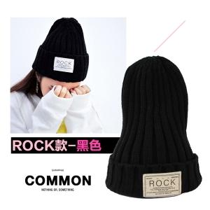 หมวกบีนนี่ หมวก Beanie hat ลาย Rock สีดำ