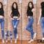 กางเกงทรงเดฟเอวสูง ผ้ายีนส์ยืด สียีนส์อ่อนฟอกด่าง ขาดเข่าเก๋ๆ มี SIZE S,M,L,XL
