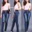 กางเกงยีนส์ยืดทรงเดฟ สียีนส์เข้มฟอกด่างสนิม แต่งขาด มี SIZE S,M,L,XL