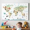 กรอบลอยแคนวาส Animal map of the world 45 x 30 นิ้ว