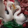 นกเป็ดน้ำคู่รักนำโชคบนฐานไม้มงคล