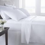 ผ้าปูที่นอนโรงแรมสีขาวเรียบ รัดมุม 3.5 ฟุต