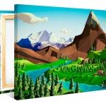 กรอบลอยแคนวาส วาดภาพเว็กเตอร์ Low polygon landscape