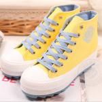 รองเท้าผ้าใบ high-top สไตล์เกาหลีสีเหลือง ส่งฟรีEMS พร้อมส่ง