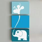 กรอบลอยผ้าแคนวาส ช้าง 3 ชิ้น