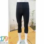 กางเกงปั่นจักรยานขาสามส่วน สีดำล้วน