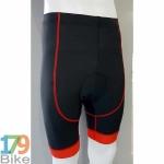 กางเกงปั่นจักรยานขาสั้น สีดำแถบแดง