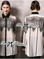 Feminine Insert Lace Chiffon Long Shirt