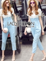 Sophie Smart Casual White Lace and Blue Jumpsuit