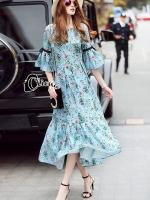 Provence Floral Line Long Dress