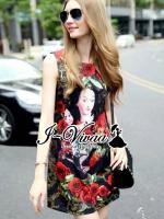 Red rose D&G print style dress