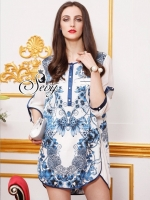 Sevy Damask Blue Printed Silk Shirt Style Mini Dress