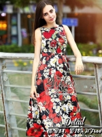 Red Rose Flower Dress with sleeveless Design style Lady Gella