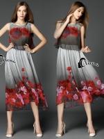 Grey Land Roses Luxury Dress