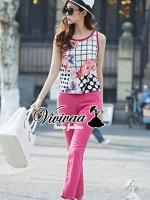 """Vivivaa recommend """"Angel pink lady set"""" Fabric : เสื้อเนื้อผ้าโพลีเอสเตอร์เนื้อทราย + กางเกงเนื้อผ้าโพลีเอสเตอร์ผสมสเป็นเด็กซ์ Detail : ตัวเสื้อเก๋ๆ ดูสบายๆ ด้วยทรงเสื้อกล้าม สวยหวานด้วยงานพิมพ์ลายดอกไม้ผสมกับลายจุดและลายตาราง ลายเก๋มากคะ มาพร้อ"""