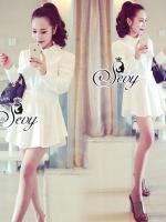 White Waist Wrap Layer Shirt