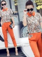 Sevy Two Pieces Of Orange Collar Short Sleeve Shirt With Pants Sets Type: Shirt+Pants Fabric: Polyester Detail: Sets เสื้อเชิ้ตคอปกพิมพ์ลายเรโทรแขนสั้น มาพร้อมกางเกงโทนสีส้ม เข้ากันกับเสื้อ ใส่ออกมาแล้วดูดีเลยนะคะ