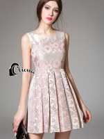 Pinky Golden Floral Lace Luxury Dress