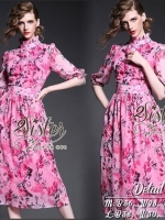 Pink Aroma Beauty Pink Rose Maxi Dress