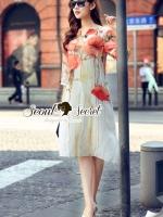 Vintage Orange Cream Bloom Dress
