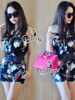 Sleeveless Tropical Lace Collar Playsuit