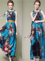 Chiffon Sleeveless Maxi Dress With Belt