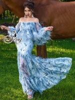 Heartbreaker Feather Off Shoulder Layer Maxi Dress