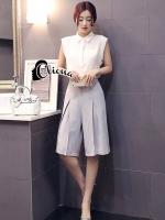 Nancy White Shirt + Grey Pant Set