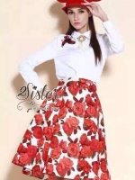 Beauty Girl's Vintage set with Red flower style