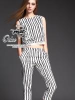 High brand black&white striped set