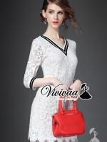 Lovele lace v-stripy collar dress