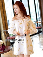 Off-Shoulder Gold Feather Embroidered Organza Dress