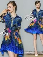 Blue Ocean Butterfly Short Sleeve Mini Dress