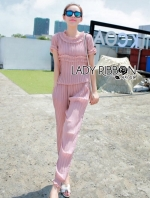 Lady Claire Sweet Feminine Baby Pink Pleated Chiffon Set
