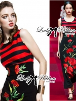 Red Carnation Embroidered Midi Dress