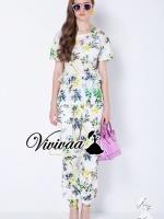 Color purple yell blossom set สวยหวานด้วยงานพิมพ์ลายดอกไม้สไตล์วินเทจ ใช้โทนสีเขียวเหลืองดู Soft สีสวยมากคะ ตัวเสื้อมีดีเทลสวยๆ ด้วยงานเย็บแต่งเป็นจีบๆ เหมือนเป็นกระเป๋านะคะ มาพร้อมกับกางเกงขายาวเข้าเซ็ทกัน กางเกงทรงหลวมๆ ใส่สบายมากคะ