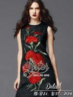 Black Mini Dress With Beauty Korea Red Rose Pattern